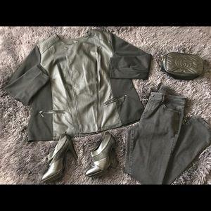 Alfani Woman Black Faux Leather Jacket